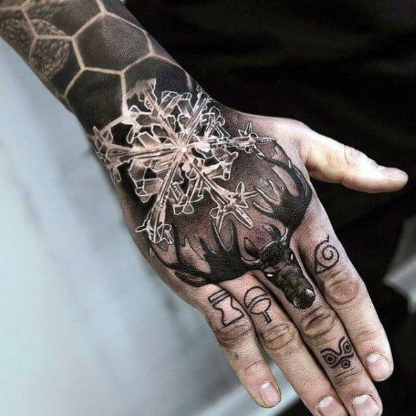 Guys 3d Realistic Snowflake Unique Hand Tattoo Ideas