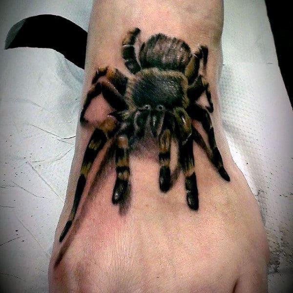 Guys 3d Realistic Tarantula Foot Tattoos