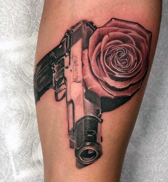 Guys 3d Rose Flower 1911 Tattoo Design Ideas