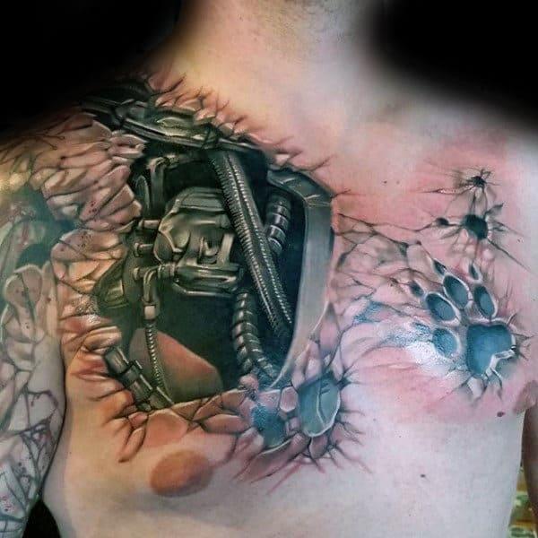 Guys 3d Stone Cyborg Terminator Upper Chest Tattoo