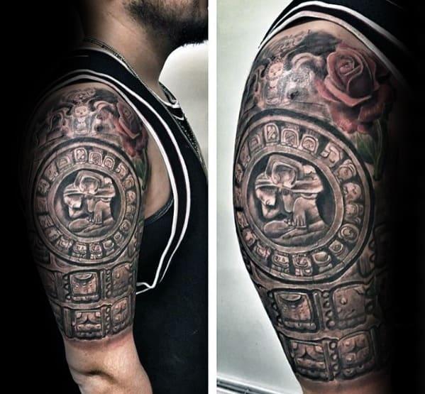 Guys 3d Stone Half Sleeve Mayan Calender Tattoo Design Ideas