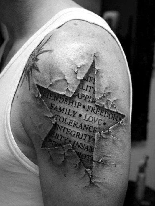 Guys 3d Upper Arm Star Tattoos