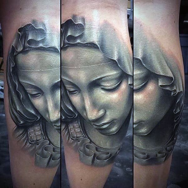 Guys 3d Virgin Mary Leg Calf Tattoos
