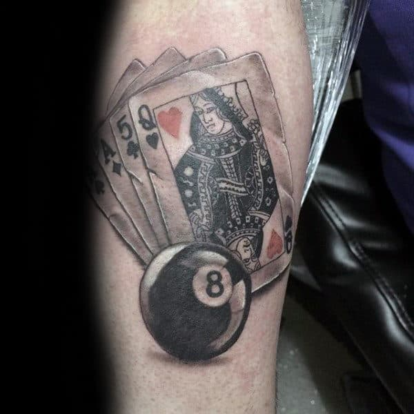 Guys 8 Ball Playing Cards Leg Calf Tattoos