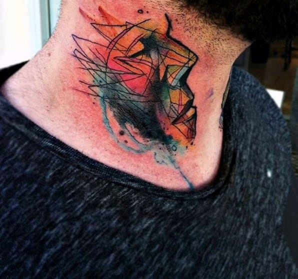 Guys Abstract Artsy Face Tattoo Design On Neck