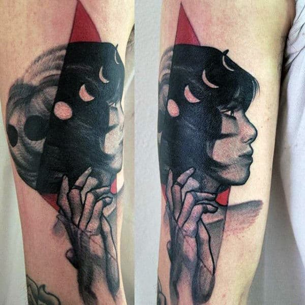 Guys Abstract Female Portrait Moon Phases Tattoo On Arm