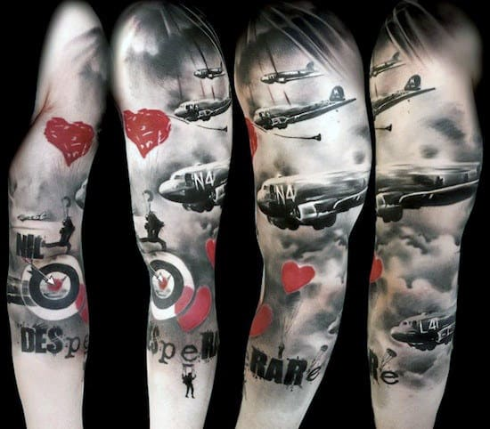 Guys Abstract Modern Art Half Sleeve Air Force Tattoo