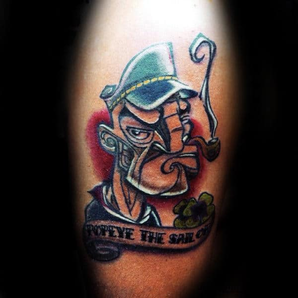 Guys Abstract Popeye The Sailor Arm Tattoo Designs