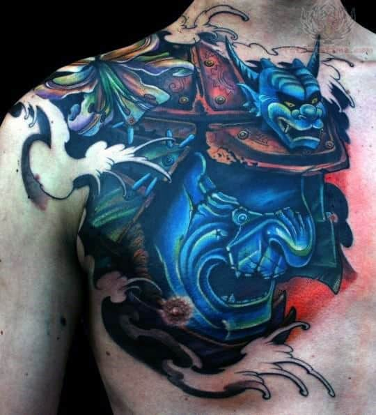 Guys Abstract Samurai Mask And Devil Head Chest Tattoo