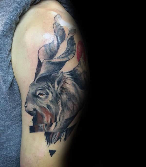 Guys Abstract Upper Arm Goat Tattoos