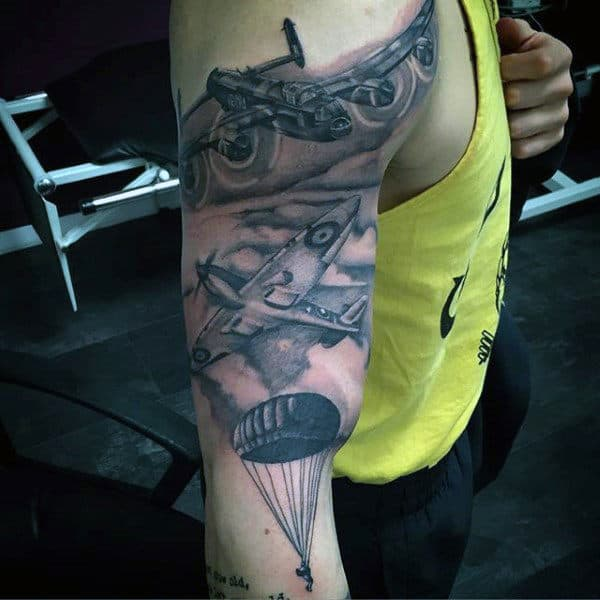 Guys Airborne Shaded Arm Tattoos