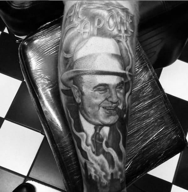 Guys Al Capone Gangster Forearm Portrait Tattoos