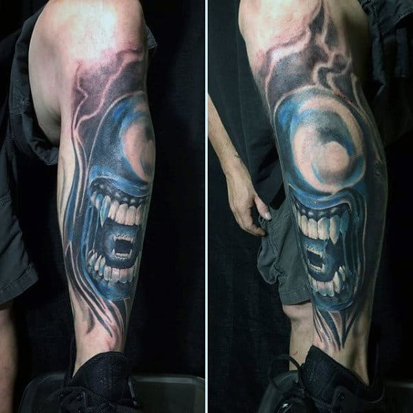 Guys Alien Blue Ink Shin Tattoos