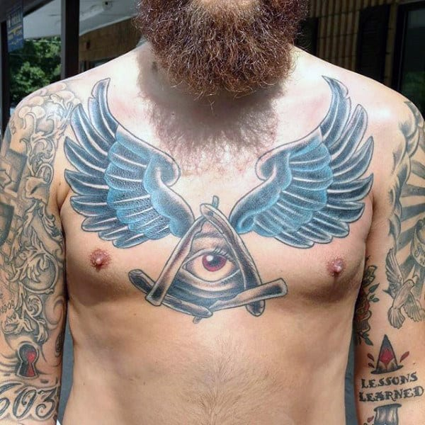 Guys All Seeing Eye Wing Chest Tattoo