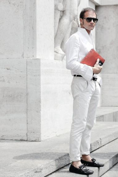 Guys All White Outfit Business Casual Style Design Ideas