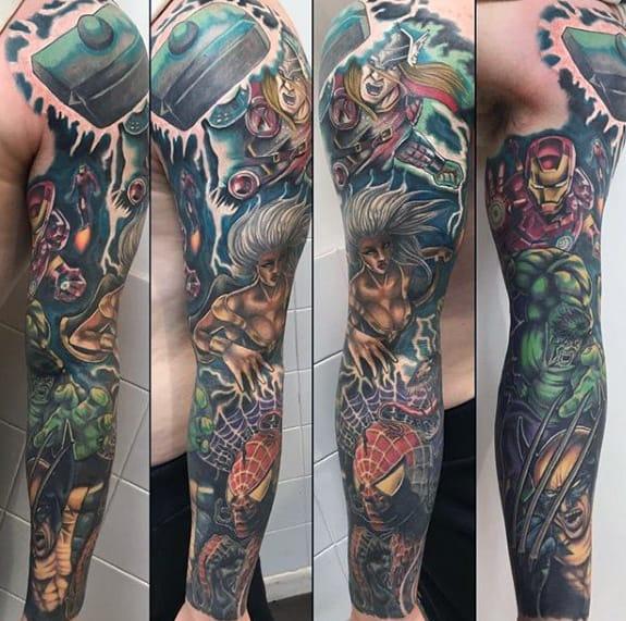 Guys Amazing Marvel Superhero Themed Full Sleeve Tattoos
