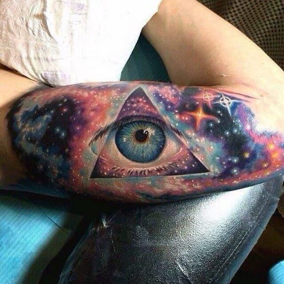 Guys Amazing One Eyed Universe Tattoos On Bicep