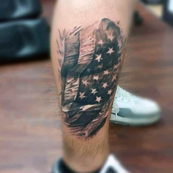 Guys American Eagle Flag Tattoo On Legs