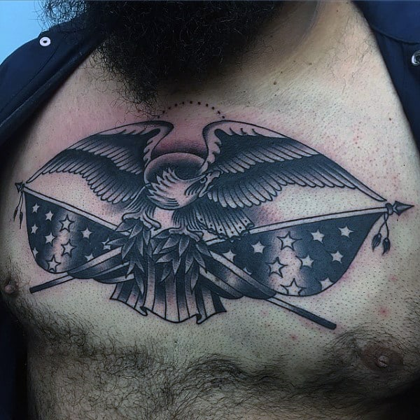 Guys American Flag Eagle Old School Upper Chest Tattoos