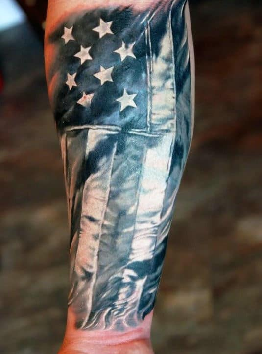 Guys American Flag Forearm Sleeve Tattoos