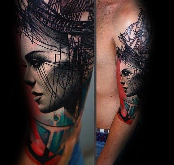 Guys Anchor Female Portrait Sailing Ship Trash Polka Half Sleeve Tattoo Ideas