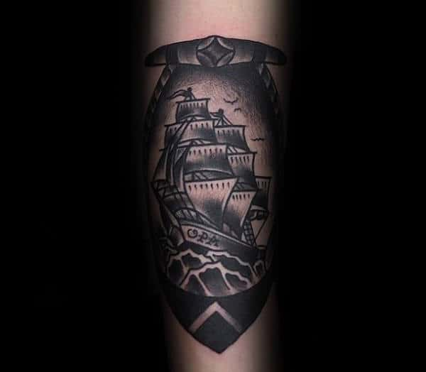 Guys Anchor Ship Black And Grey Ink Shaded Traditional Old School Inner Forearm Tattoo