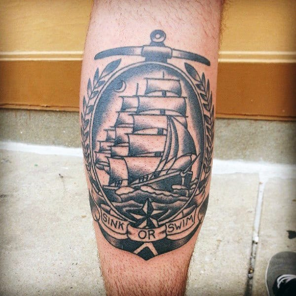 Guys Anchor Ship Mens Traditional Leg Tattoo