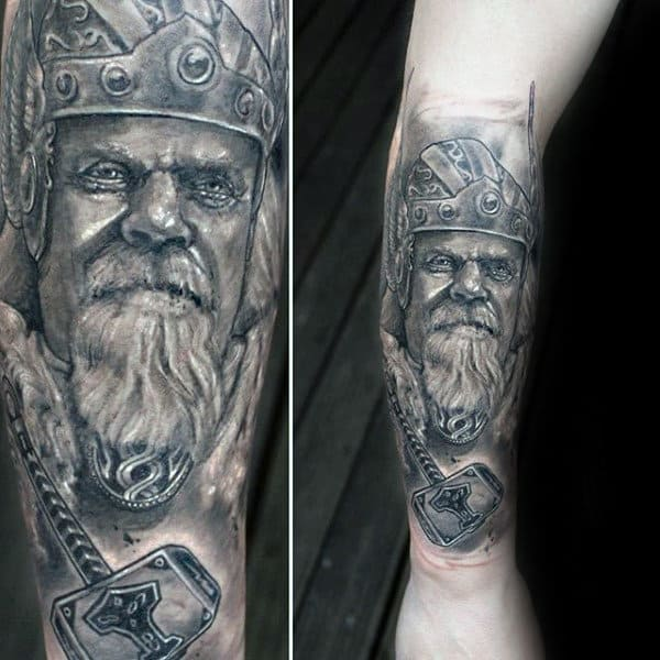 Guys Ancient Hammer Tattoo Design On Forearm