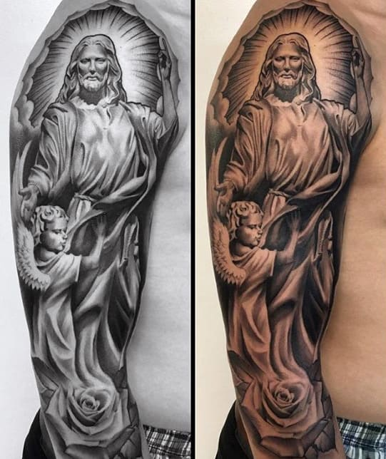 Guys Angel Catholic Half Sleeve Tattoo Designs