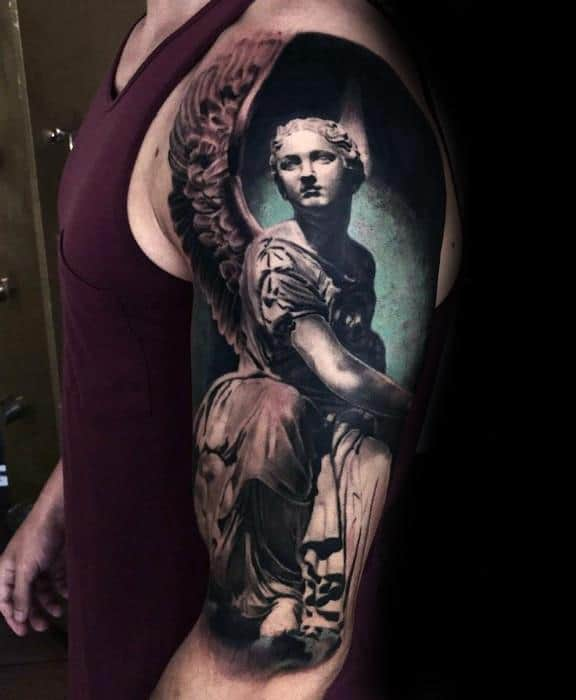 Guys Angel Statue Half Sleeve 3d Realistic Tattoo Designs