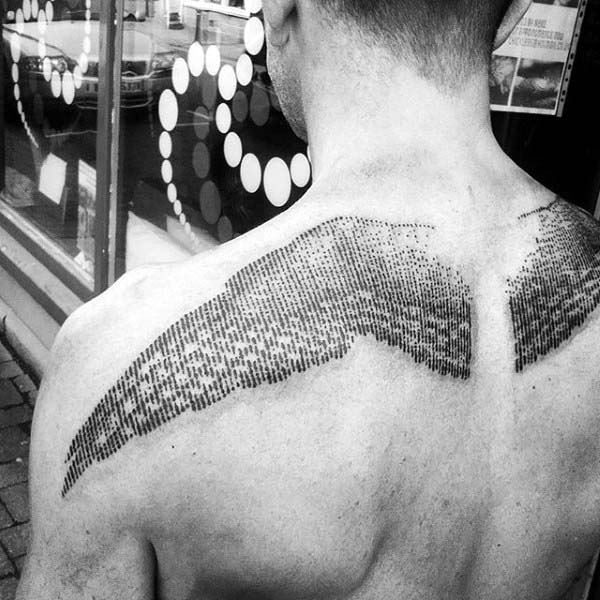 Guys Angel Wings Woodcut Upper Back Tattoos