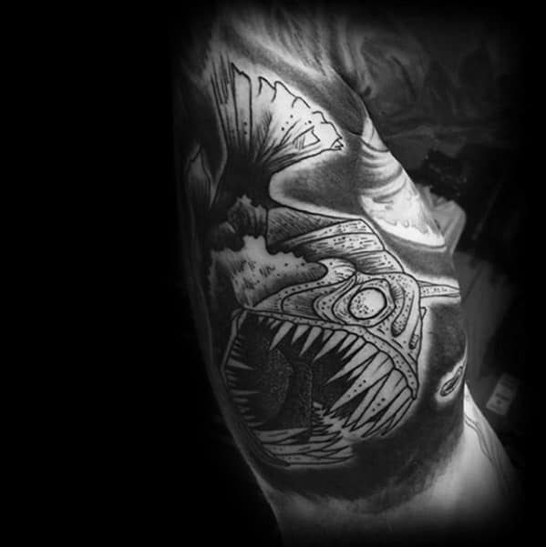 Guys Angler Fish Tattoo Design Ideas Bicep