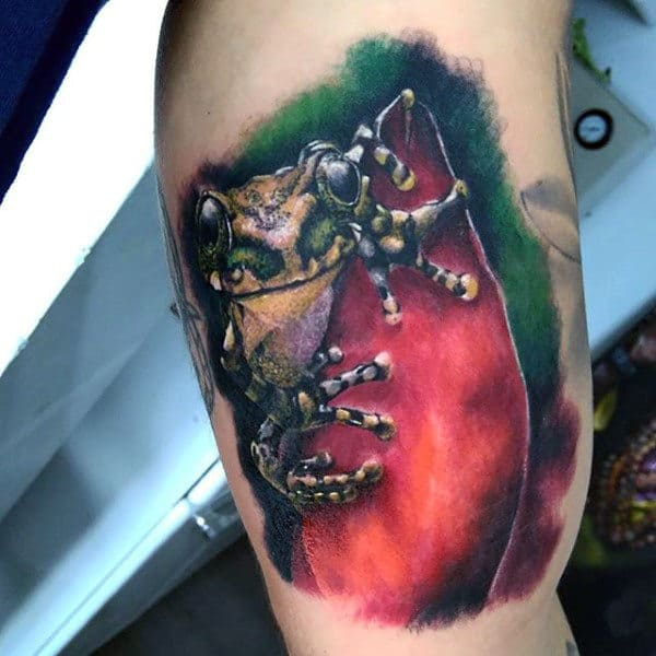 Guys Animal Bicep Frog Watercolor Tattoo