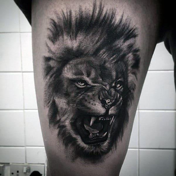 Guys Animal Roaring Lion Thigh Tattoo