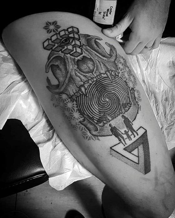 Guys Animal Skull Geometric Leg Tattoo Deisgns