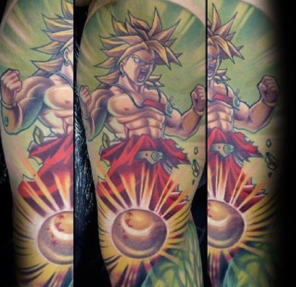 Guys Anime Sleeve Tattoo Design Idea Inspiration