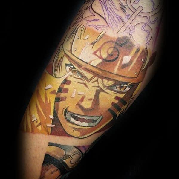 Guys Anime Tattoo On Inner Arm Bicep