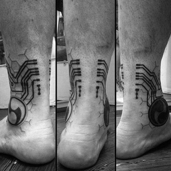 Guys Ankle Circuit Board Technology Themed Tattoo