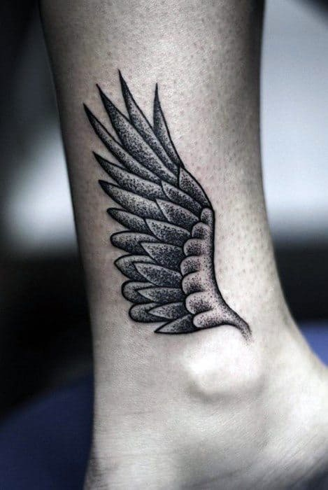 Guys Ankle Dotwork Wing Tattoos Ideas