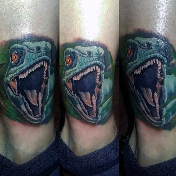 Guys Ankle Gaping Dinosuar Tattoo
