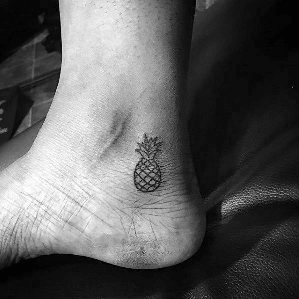 Guys Ankle Pinapple Tattoo Design Ideas