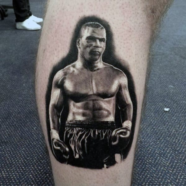 Guys Ankles Black And Grey Boxer Tattoo