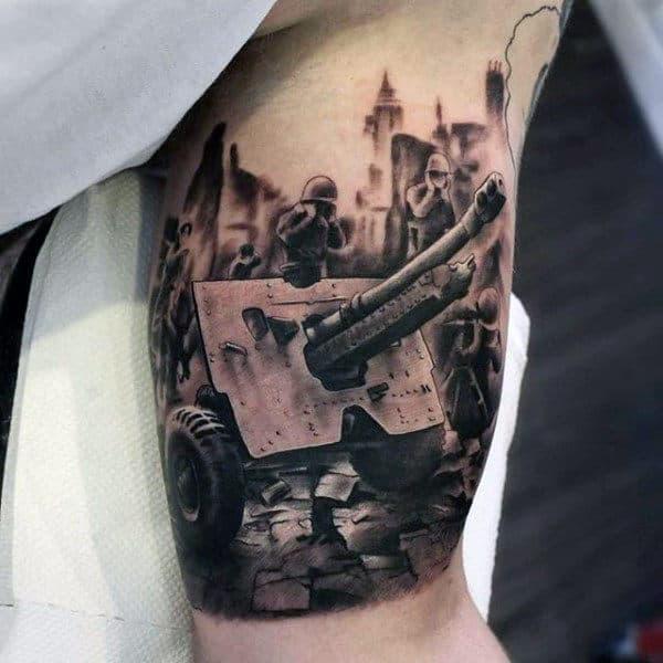 Guys Anti Tank Gun Army Bicep Tattoo Design Ideas