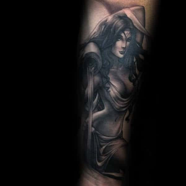 Guys Aquarius Forearm Sleeve Tattoos