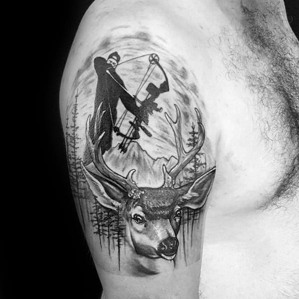 Guys Arm Bowhunting Tattoo