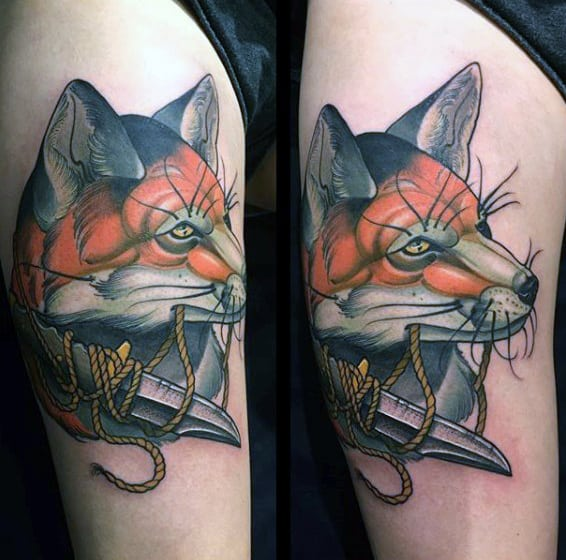 Guys Arm Fox With Roped Knife Tattoo