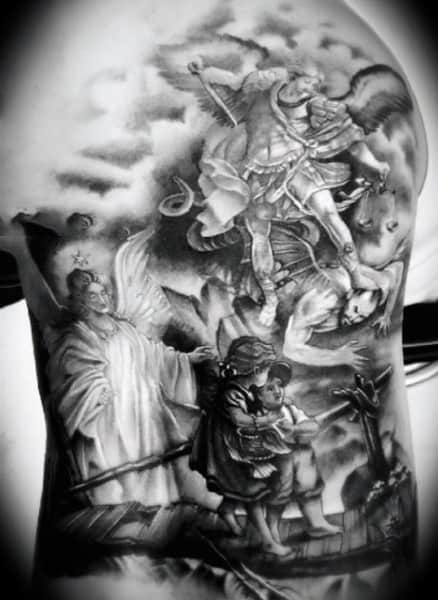 Guys Arm Guardian Angels Watching Over Children Tattoo