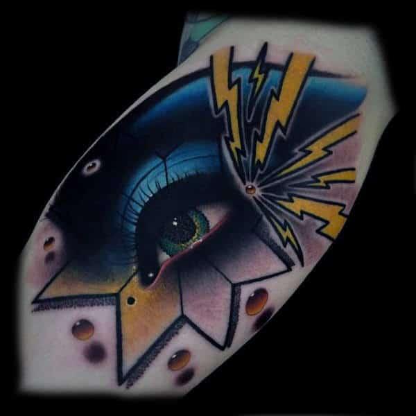 Guys Arm Modern Art Eye With Lightening Blazes Tattoo
