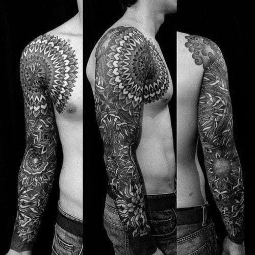 Guys Arm Sleeve Tattoos With Mandala Design