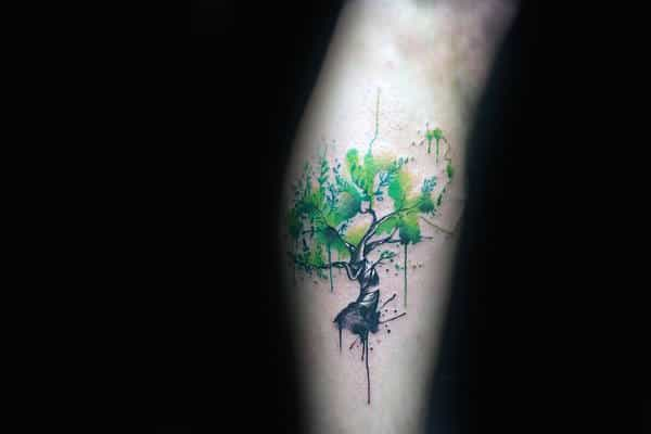 Guys Arm Tiny Splashed Green Watercolor Tree Tattoo Design Ideas